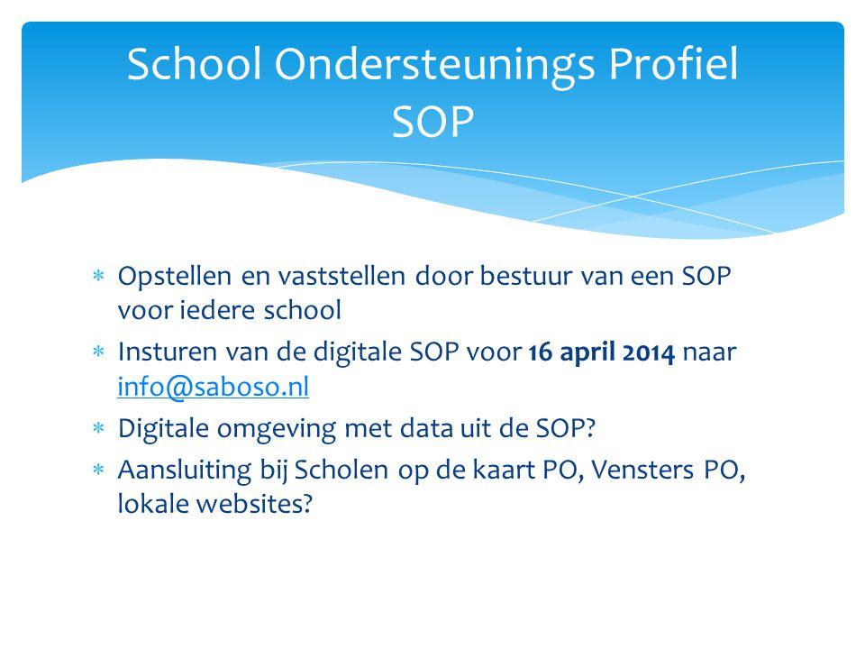  Opstellen en vaststellen door bestuur van een SOP voor iedere school  Insturen van de digitale SOP voor 16 april 2014 naar info@saboso.nl info@saboso.nl  Digitale omgeving met data uit de SOP.