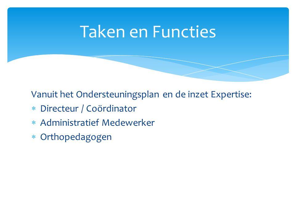 Vanuit het Ondersteuningsplan en de inzet Expertise:  Directeur / Coördinator  Administratief Medewerker  Orthopedagogen Taken en Functies