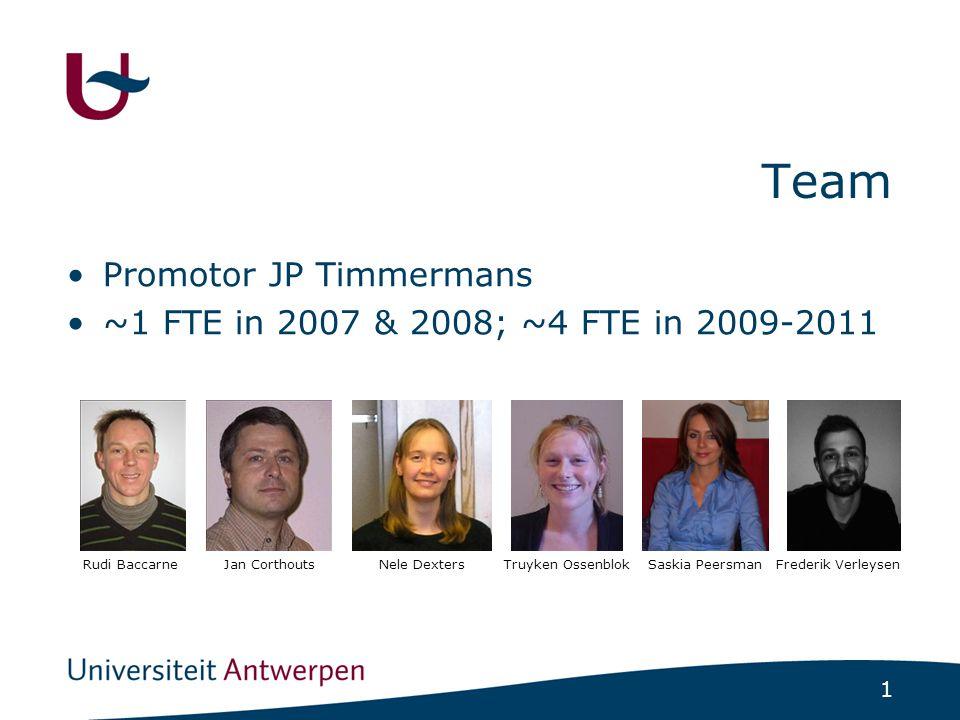 1 Team Promotor JP Timmermans ~1 FTE in 2007 & 2008; ~4 FTE in 2009-2011 Rudi BaccarneJan CorthoutsNele DextersTruyken Ossenblok Saskia Peersman Frede
