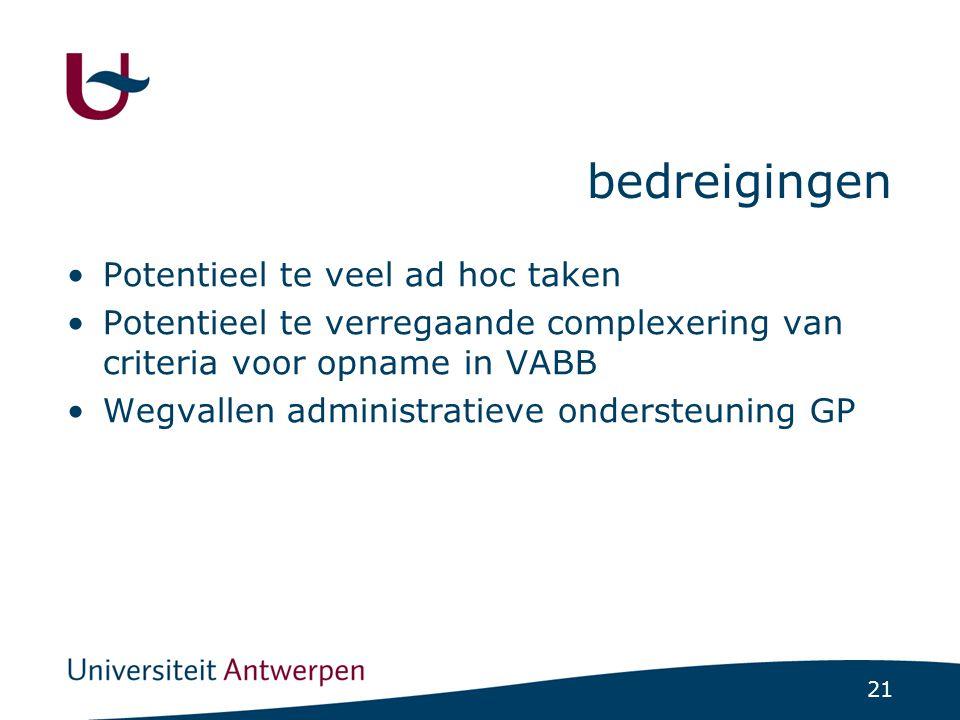 21 bedreigingen Potentieel te veel ad hoc taken Potentieel te verregaande complexering van criteria voor opname in VABB Wegvallen administratieve ondersteuning GP
