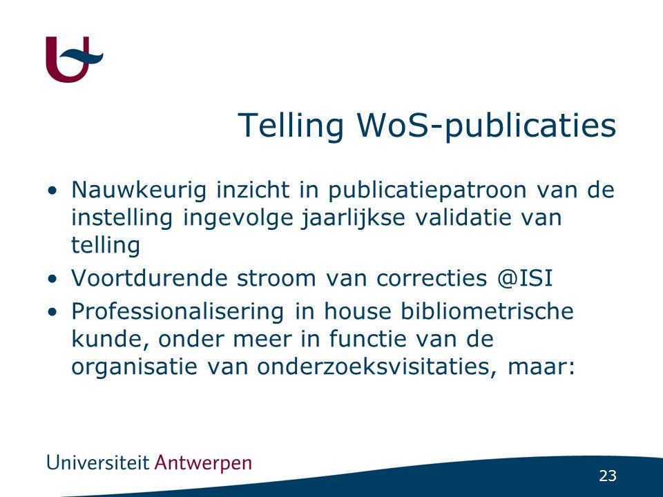 23 Telling WoS-publicaties Nauwkeurig inzicht in publicatiepatroon van de instelling ingevolge jaarlijkse validatie van telling Voortdurende stroom van correcties @ISI Professionalisering in house bibliometrische kunde, onder meer in functie van de organisatie van onderzoeksvisitaties, maar: