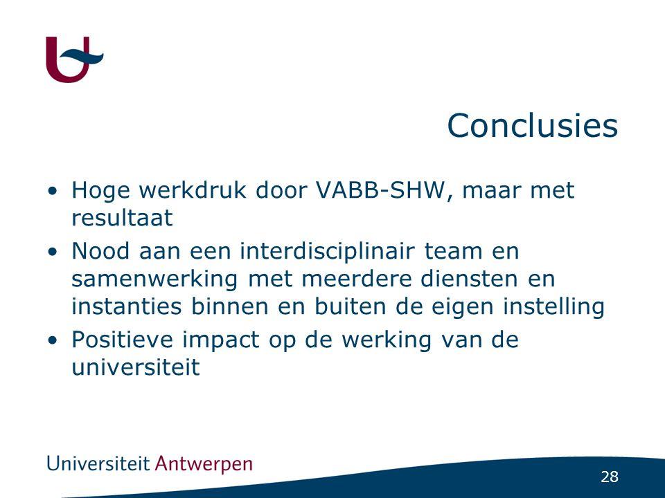 28 Conclusies Hoge werkdruk door VABB-SHW, maar met resultaat Nood aan een interdisciplinair team en samenwerking met meerdere diensten en instanties binnen en buiten de eigen instelling Positieve impact op de werking van de universiteit