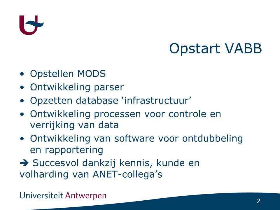 2 Opstart VABB Opstellen MODS Ontwikkeling parser Opzetten database 'infrastructuur' Ontwikkeling processen voor controle en verrijking van data Ontwikkeling van software voor ontdubbeling en rapportering  Succesvol dankzij kennis, kunde en volharding van ANET-collega's