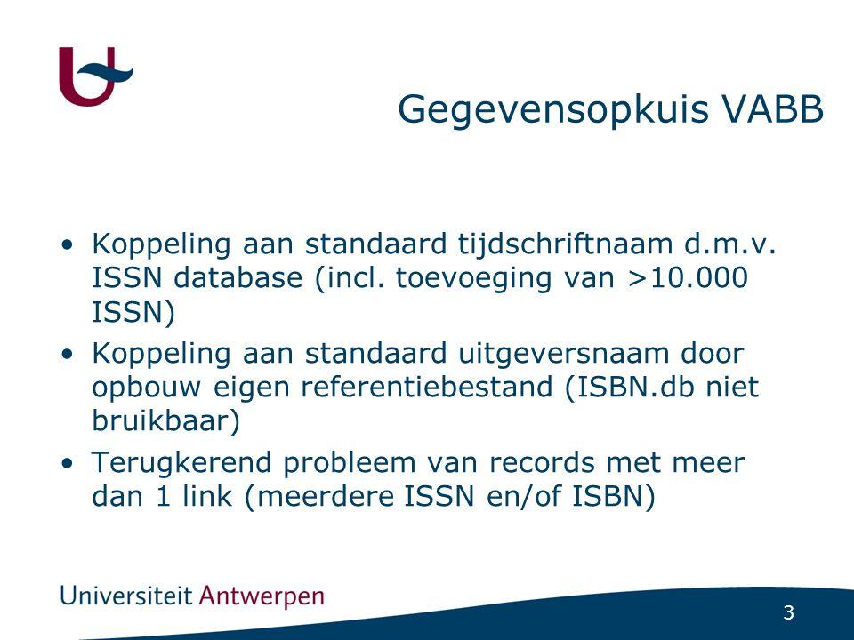 3 Gegevensopkuis VABB Koppeling aan standaard tijdschriftnaam d.m.v.