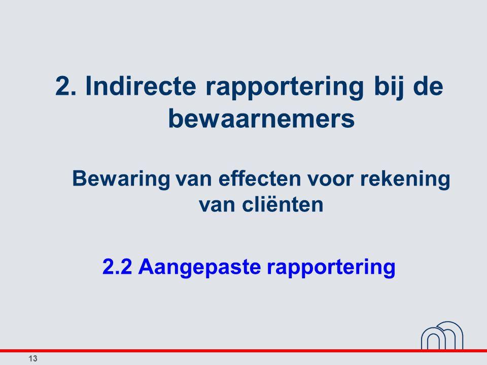 13 2. Indirecte rapportering bij de bewaarnemers Bewaring van effecten voor rekening van cliënten 2.2 Aangepaste rapportering