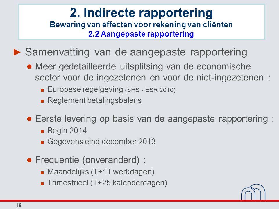 18 ► Samenvatting van de aangepaste rapportering ● Meer gedetailleerde uitsplitsing van de economische sector voor de ingezetenen en voor de niet-inge