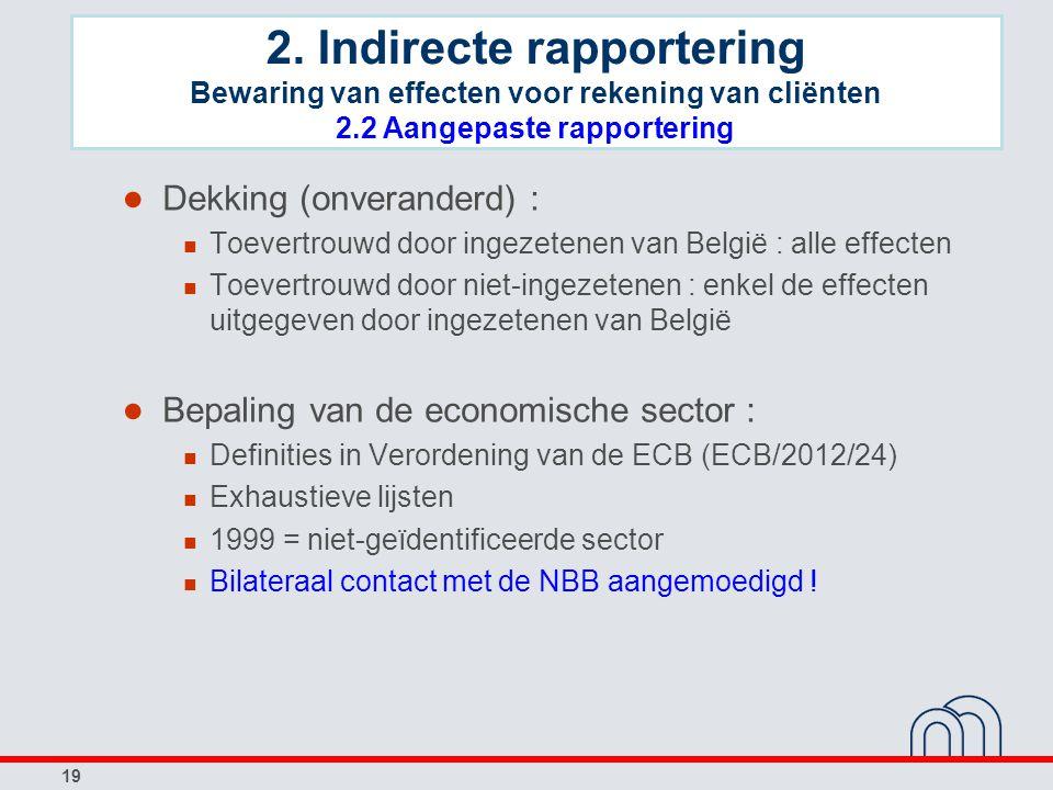 19 ● Dekking (onveranderd) : Toevertrouwd door ingezetenen van België : alle effecten Toevertrouwd door niet-ingezetenen : enkel de effecten uitgegeven door ingezetenen van België ● Bepaling van de economische sector : Definities in Verordening van de ECB (ECB/2012/24) Exhaustieve lijsten 1999 = niet-geïdentificeerde sector Bilateraal contact met de NBB aangemoedigd .