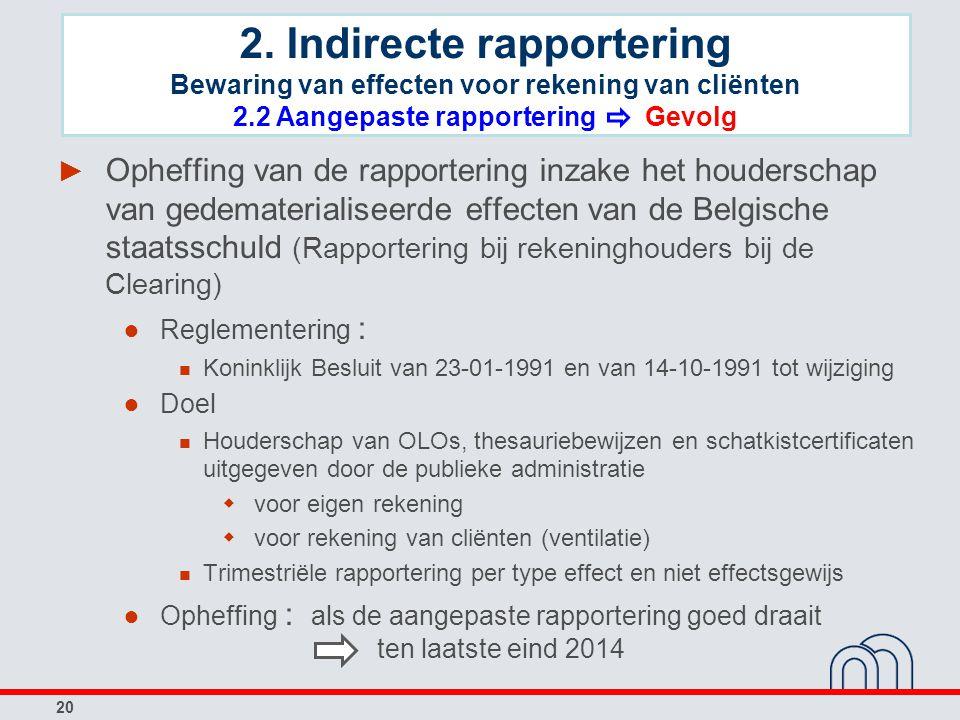 20 ► Opheffing van de rapportering inzake het houderschap van gedematerialiseerde effecten van de Belgische staatsschuld (Rapportering bij rekeninghou