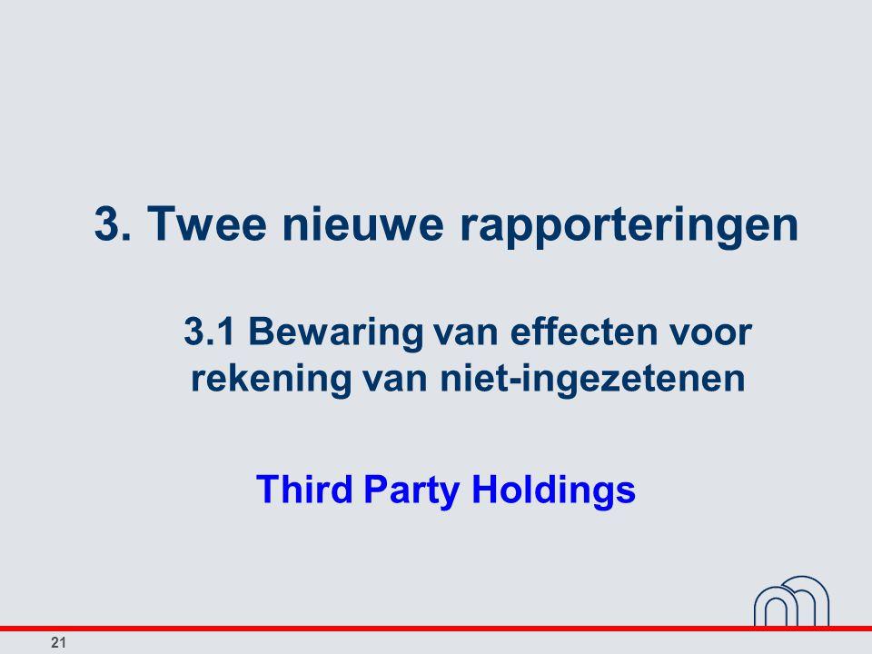 21 3. Twee nieuwe rapporteringen 3.1 Bewaring van effecten voor rekening van niet-ingezetenen Third Party Holdings