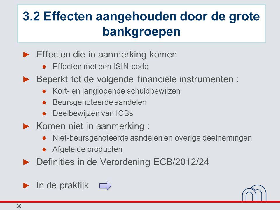 36 ► Effecten die in aanmerking komen ● Effecten met een ISIN-code ► Beperkt tot de volgende financiële instrumenten : ● Kort- en langlopende schuldbe