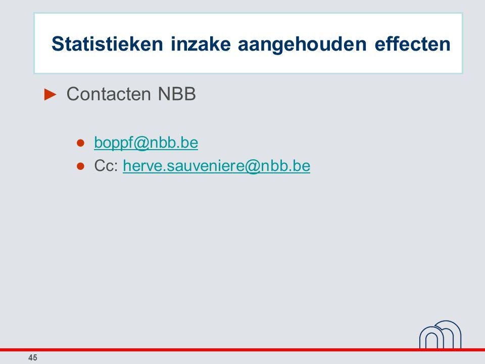45 ► Contacten NBB ● boppf@nbb.be boppf@nbb.be ● Cc: herve.sauveniere@nbb.beherve.sauveniere@nbb.be Statistieken inzake aangehouden effecten
