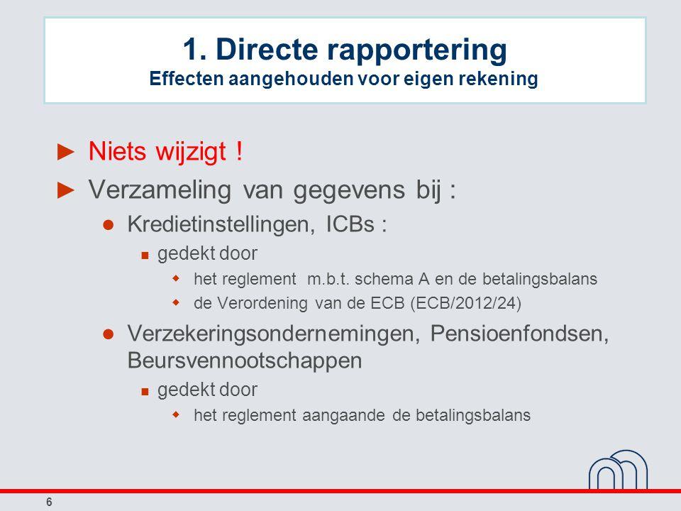6 1. Directe rapportering Effecten aangehouden voor eigen rekening ► Niets wijzigt ! ► Verzameling van gegevens bij : ● Kredietinstellingen, ICBs : ge