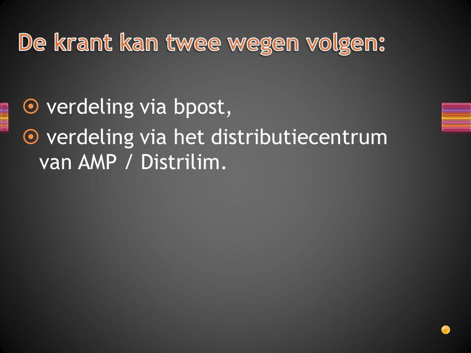  verdeling via bpost,  verdeling via het distributiecentrum van AMP / Distrilim.