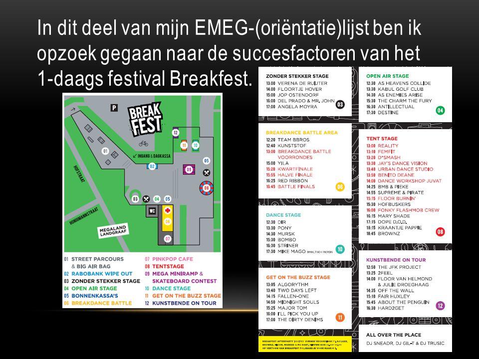 In dit deel van mijn EMEG-(oriëntatie)lijst ben ik opzoek gegaan naar de succesfactoren van het 1-daags festival Breakfest.