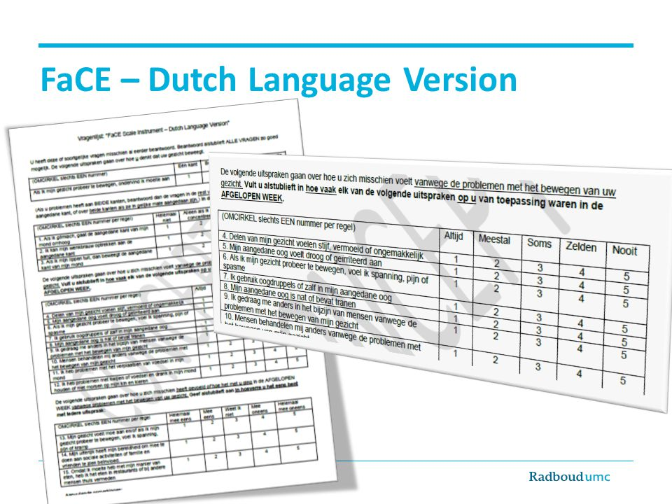 FaCE – Dutch Language Version