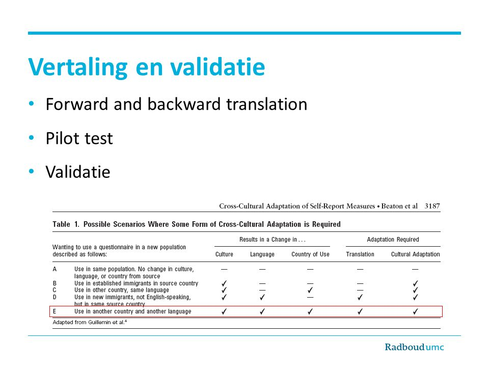 Vertaling en validatie Forward and backward translation Pilot test Validatie