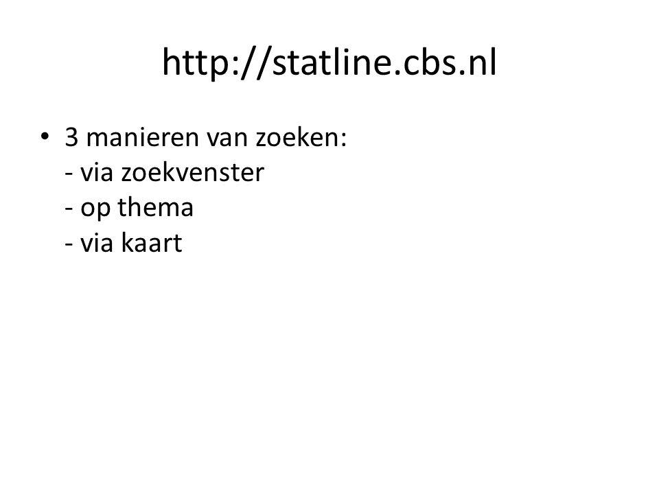 http://statline.cbs.nl 3 manieren van zoeken: - via zoekvenster - op thema - via kaart Bij informatie over Statline een handleiding en alfabetische lijst van alle tabellen.