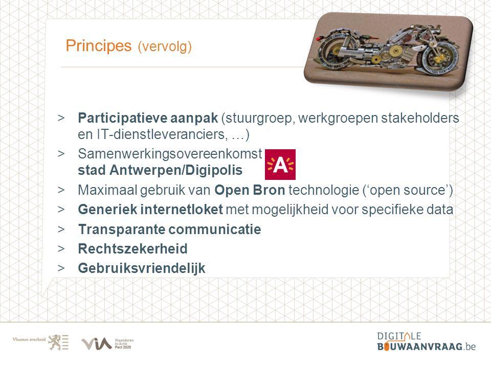 Principes (vervolg) >Participatieve aanpak (stuurgroep, werkgroepen stakeholders en IT-dienstleveranciers, …) >Samenwerkingsovereenkomst stad Antwerpe