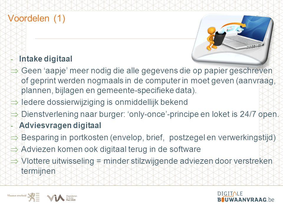 Voordelen (1) - Intake digitaal  Geen 'aapje' meer nodig die alle gegevens die op papier geschreven of geprint werden nogmaals in de computer in moet