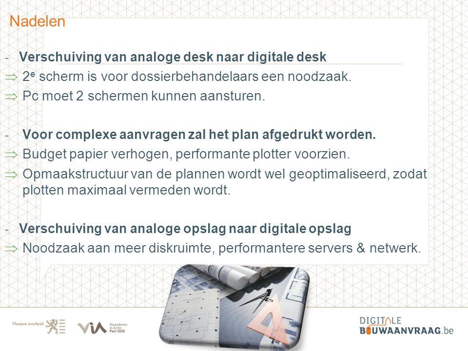 - Verschuiving van analoge desk naar digitale desk  2 e scherm is voor dossierbehandelaars een noodzaak.  Pc moet 2 schermen kunnen aansturen. - Voo