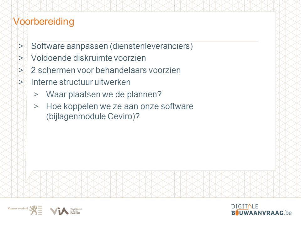 Voorbereiding >Software aanpassen (dienstenleveranciers) >Voldoende diskruimte voorzien >2 schermen voor behandelaars voorzien >Interne structuur uitw