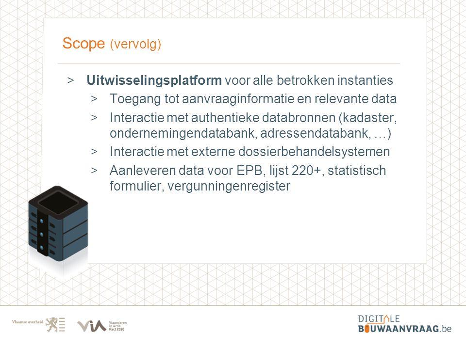 Scope (vervolg) >Uitwisselingsplatform voor alle betrokken instanties >Toegang tot aanvraaginformatie en relevante data >Interactie met authentieke da