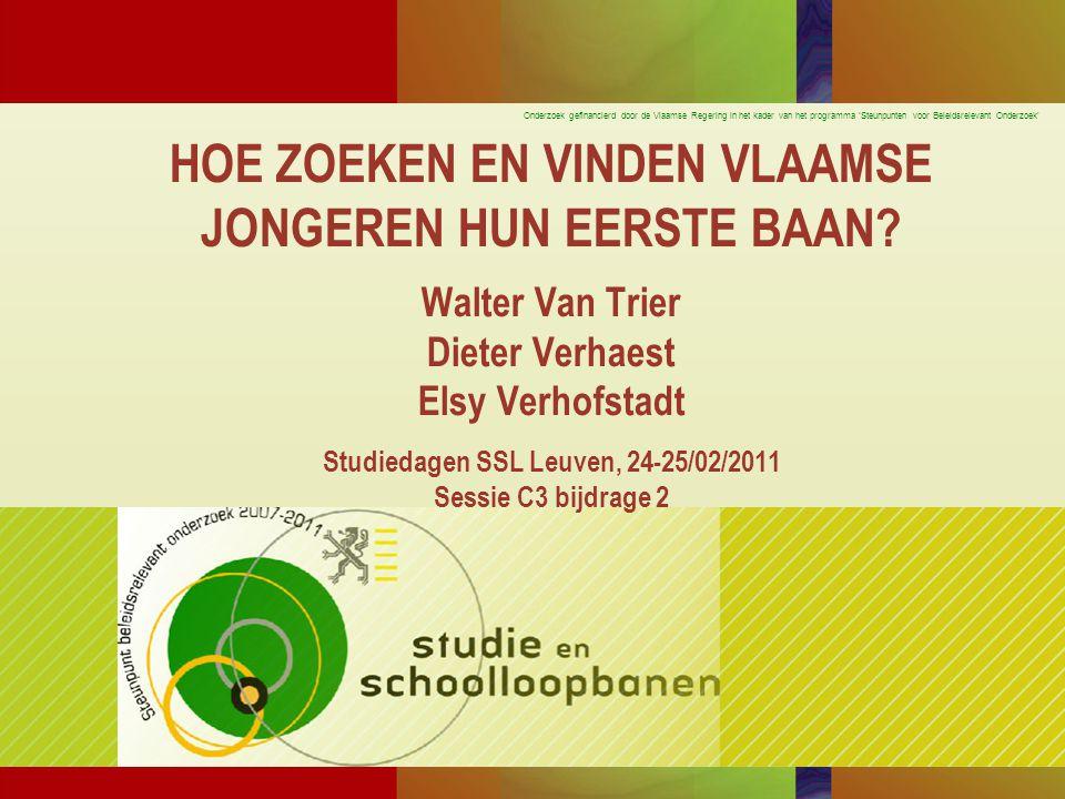 Onderzoek gefinancierd door de Vlaamse Regering in het kader van het programma 'Steunpunten voor Beleidsrelevant Onderzoek' WELKE VASTSTELLINGEN.