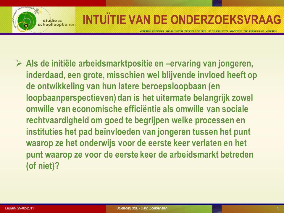 Onderzoek gefinancierd door de Vlaamse Regering in het kader van het programma 'Steunpunten voor Beleidsrelevant Onderzoek' EFFECTIVITEIT VAN ZOEKKANALEN Leuven, 25-02-2011Studiedag SSL - C3/2: Zoekkanalen16