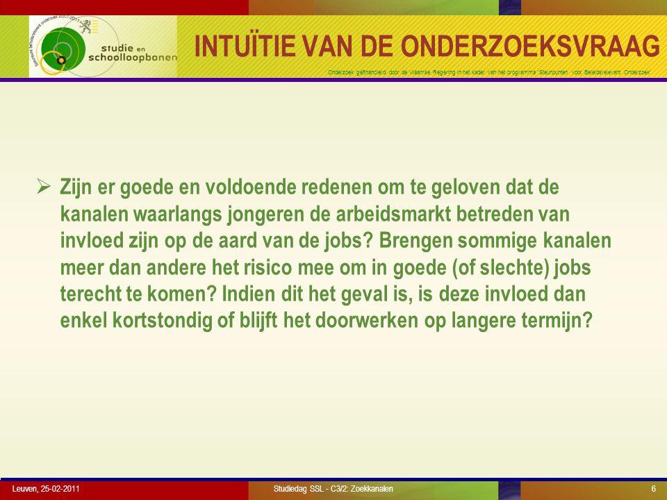 Onderzoek gefinancierd door de Vlaamse Regering in het kader van het programma 'Steunpunten voor Beleidsrelevant Onderzoek' SIMULATIE WERKLOZE SCHOOLVERLATERS Leuven, 25-02-2011Studiedag SSL - C3/2: Zoekkanalen27