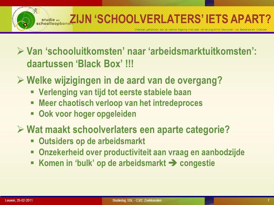 Onderzoek gefinancierd door de Vlaamse Regering in het kader van het programma 'Steunpunten voor Beleidsrelevant Onderzoek' WERKWIJZE (1)  Jongeren geboren in 1976 and 1978, geïnterviewd op de leeftijd van 23 and 26 – doorliepen Vlaams onderwijssyteem  Initiële steekproeven van elk 3000 respondenten, response rate van 68.3% (eerste cohorte) en 71.3% tweede cohorte) op de leeftijd van 26  Bruikbare steekproef van 5163 respondenten die op de leeftijd van 26 jaar reeds het onderwijssysteem verlieten Leuven, 25-02-2011Studiedag SSL - C3/2: Zoekkanalen18