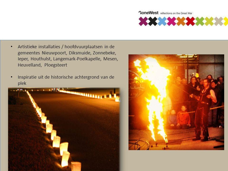 Artistieke installaties / hoofdvuurplaatsen in de gemeentes Nieuwpoort, Diksmuide, Zonnebeke, Ieper, Houthulst, Langemark-Poelkapelle, Mesen, Heuvella