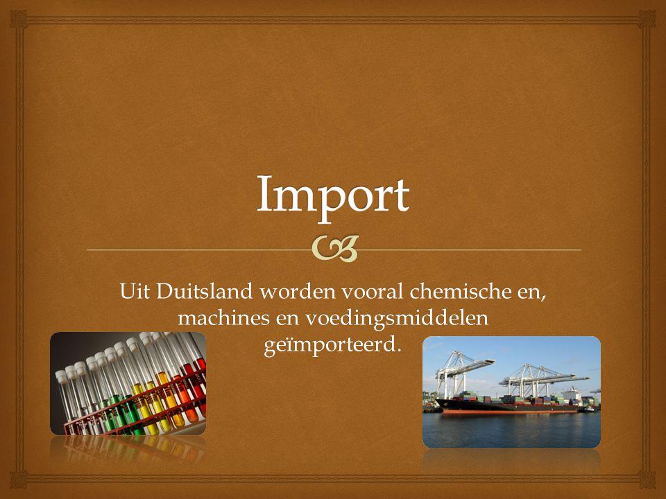 Uit Duitsland worden vooral chemische en, machines en voedingsmiddelen geïmporteerd.