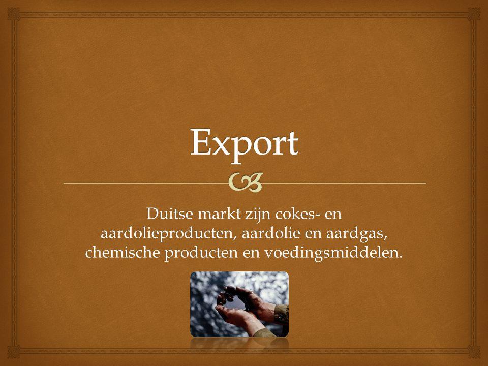 Duitse markt zijn cokes- en aardolieproducten, aardolie en aardgas, chemische producten en voedingsmiddelen.