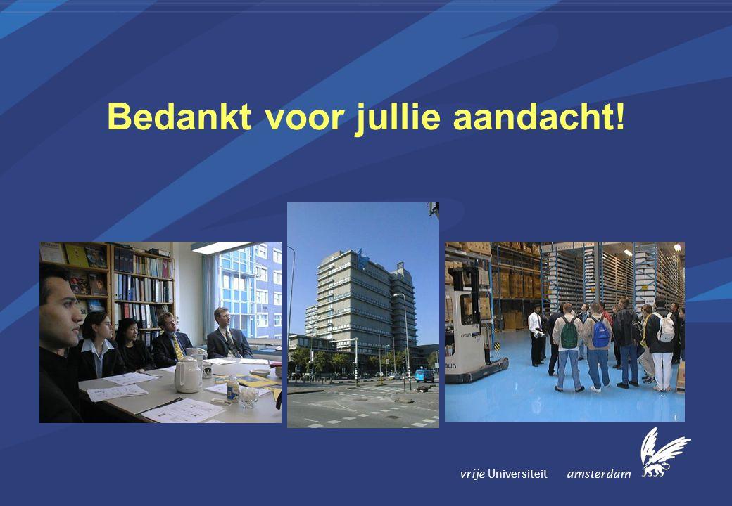 vrije Universiteit amsterdam Bedankt voor jullie aandacht!