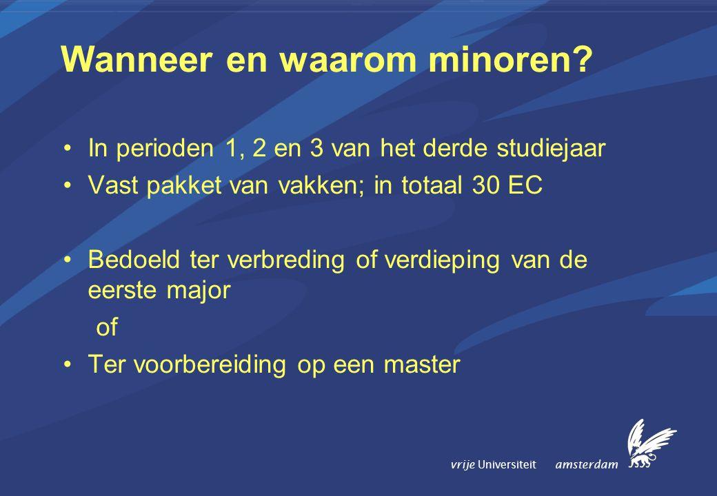 vrije Universiteit amsterdam Wanneer en waarom minoren.