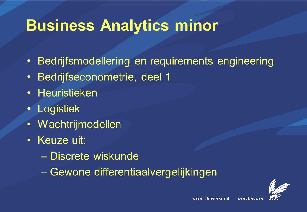 vrije Universiteit amsterdam Business Analytics minor Bedrijfsmodellering en requirements engineering Bedrijfseconometrie, deel 1 Heuristieken Logistiek Wachtrijmodellen Keuze uit: –Discrete wiskunde –Gewone differentiaalvergelijkingen
