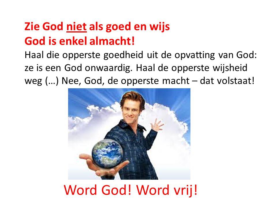 Zie God niet als goed en wijs God is enkel almacht! Haal die opperste goedheid uit de opvatting van God: ze is een God onwaardig. Haal de opperste wij
