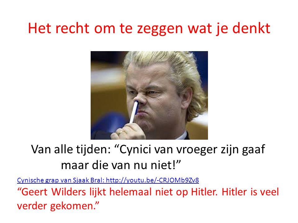"""Het recht om te zeggen wat je denkt Van alle tijden: """"Cynici van vroeger zijn gaaf maar die van nu niet!"""" Cynische grap van Sjaak Bral: http://youtu.b"""
