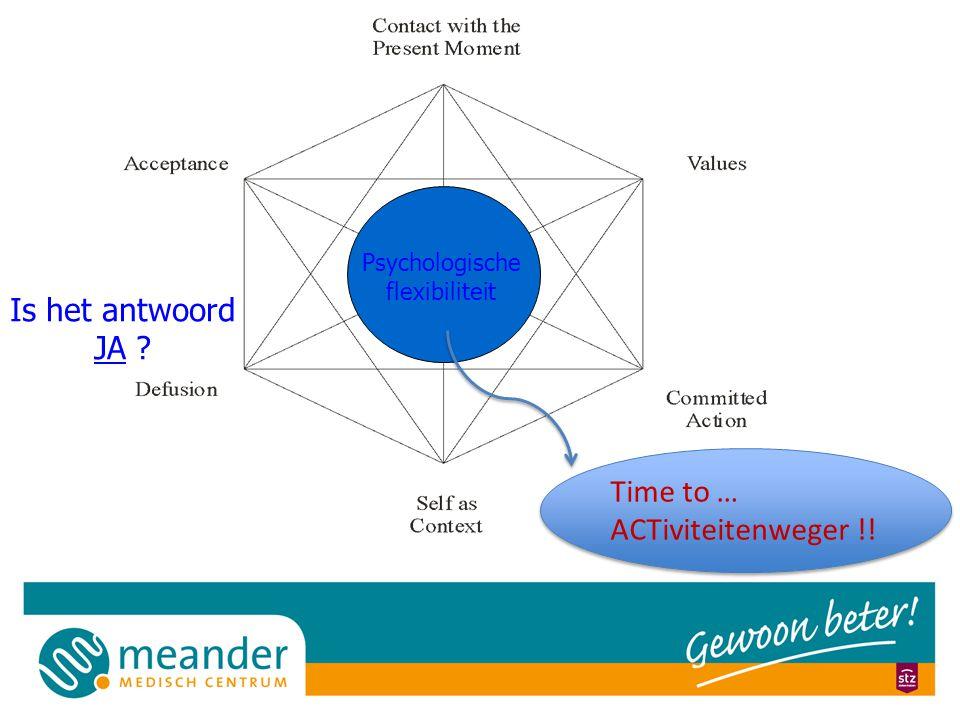 Psychologische flexibiliteit Is het antwoord JA .Time to … ACTiviteitenweger !.