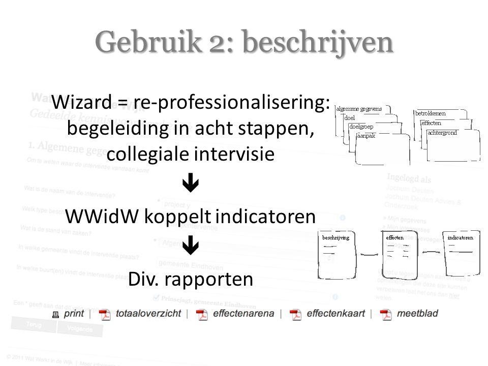 Gebruik 2: beschrijven Wizard = re-professionalisering: begeleiding in acht stappen, collegiale intervisie  WWidW koppelt indicatoren  Div.