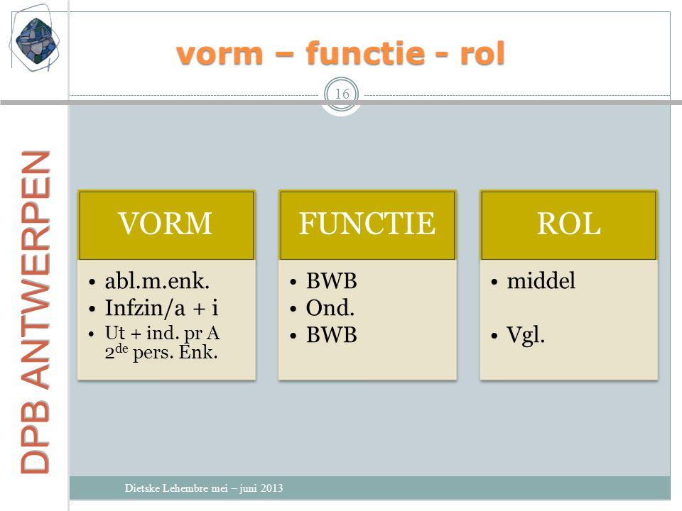 vorm – functie - rol Dietske Lehembre mei – juni 2013 16 VORM abl.m.enk.