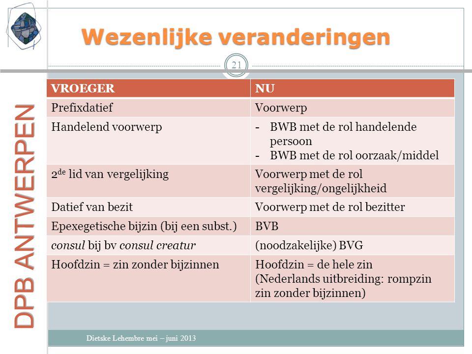 Wezenlijke veranderingen Dietske Lehembre mei – juni 2013 21 VROEGERNU PrefixdatiefVoorwerp Handelend voorwerp-BWB met de rol handelende persoon -BWB met de rol oorzaak/middel 2 de lid van vergelijkingVoorwerp met de rol vergelijking/ongelijkheid Datief van bezitVoorwerp met de rol bezitter Epexegetische bijzin (bij een subst.)BVB consul bij bv consul creatur(noodzakelijke) BVG Hoofdzin = zin zonder bijzinnenHoofdzin = de hele zin (Nederlands uitbreiding: rompzin zin zonder bijzinnen)