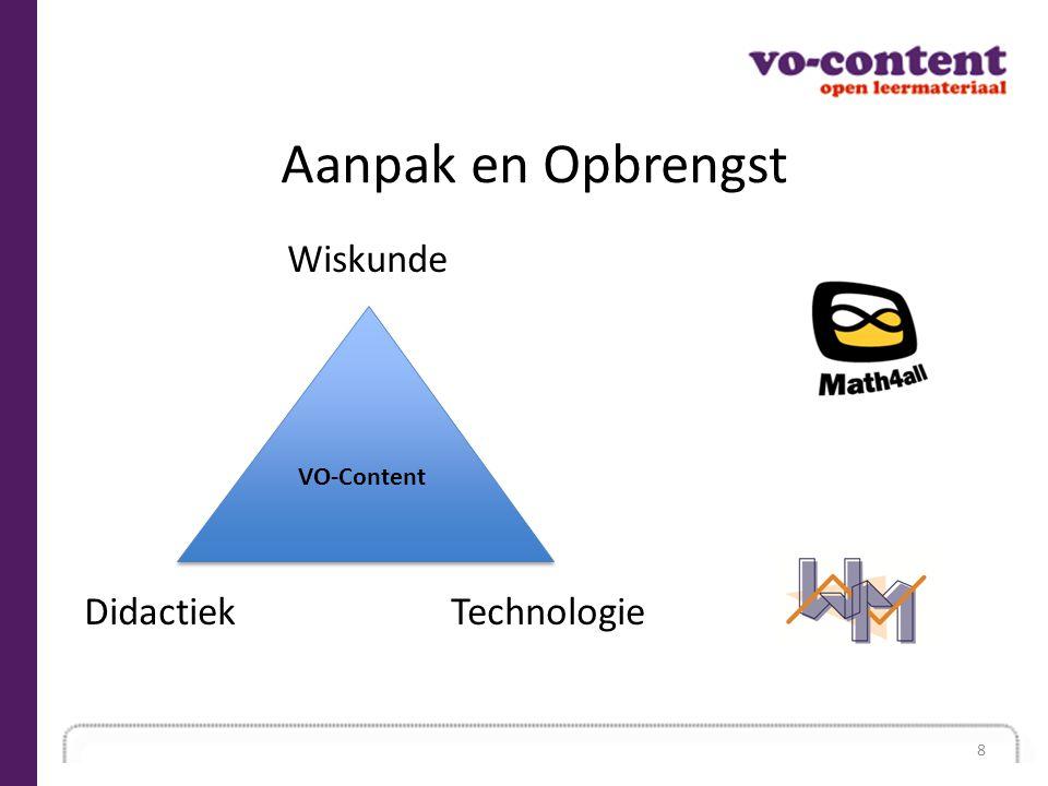 Aanpak en Opbrengst Wiskunde DidactiekTechnologie 8 VO-Content