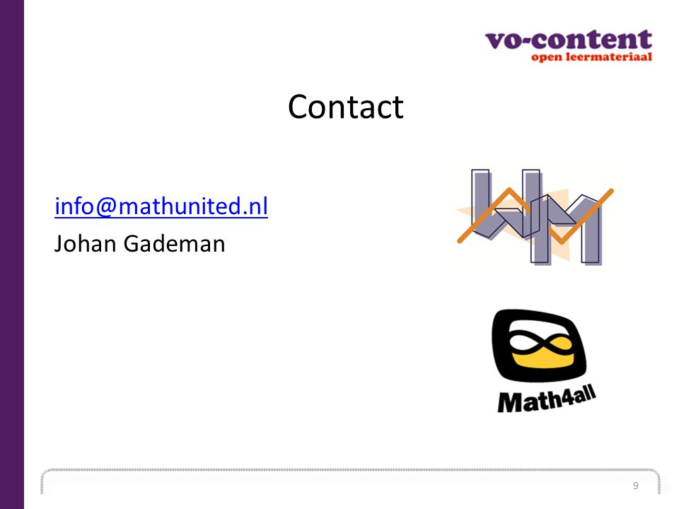 Contact info@mathunited.nl Johan Gademan 9