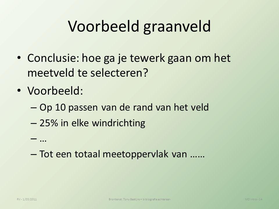 Voorbeeld graanveld Conclusie: hoe ga je tewerk gaan om het meetveld te selecteren.