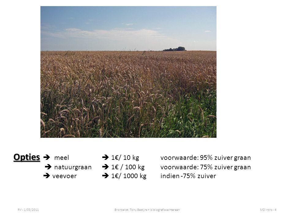 RV - 1/03/2011Brontekst: Tony Bastijns + bibliografie achteraanMO intro - 4 Opties Opties  meel  1€/ 10 kg voorwaarde: 95% zuiver graan  natuurgraan  1€ / 100 kg voorwaarde: 75% zuiver graan  veevoer  1€/ 1000 kgindien -75% zuiver