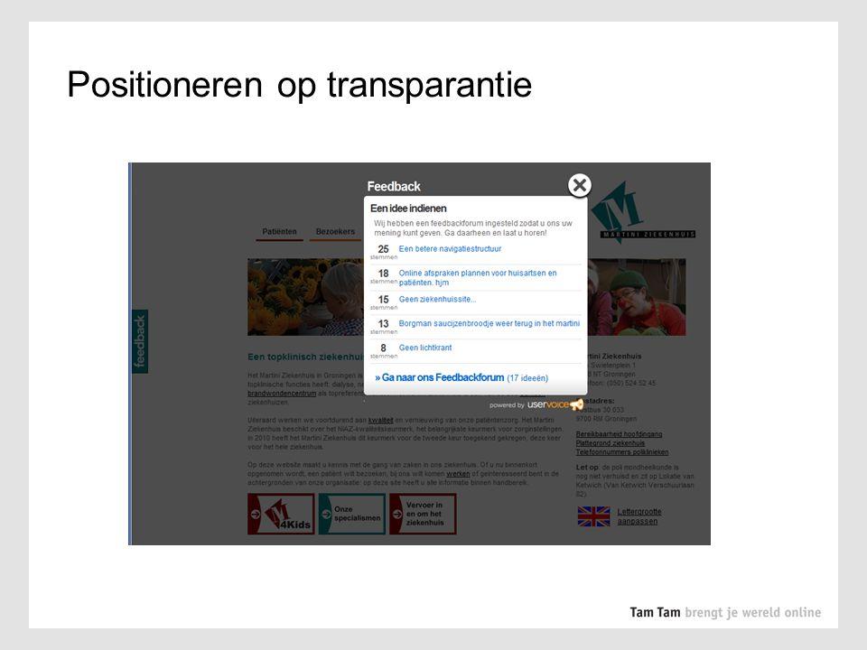 Positioneren op transparantie
