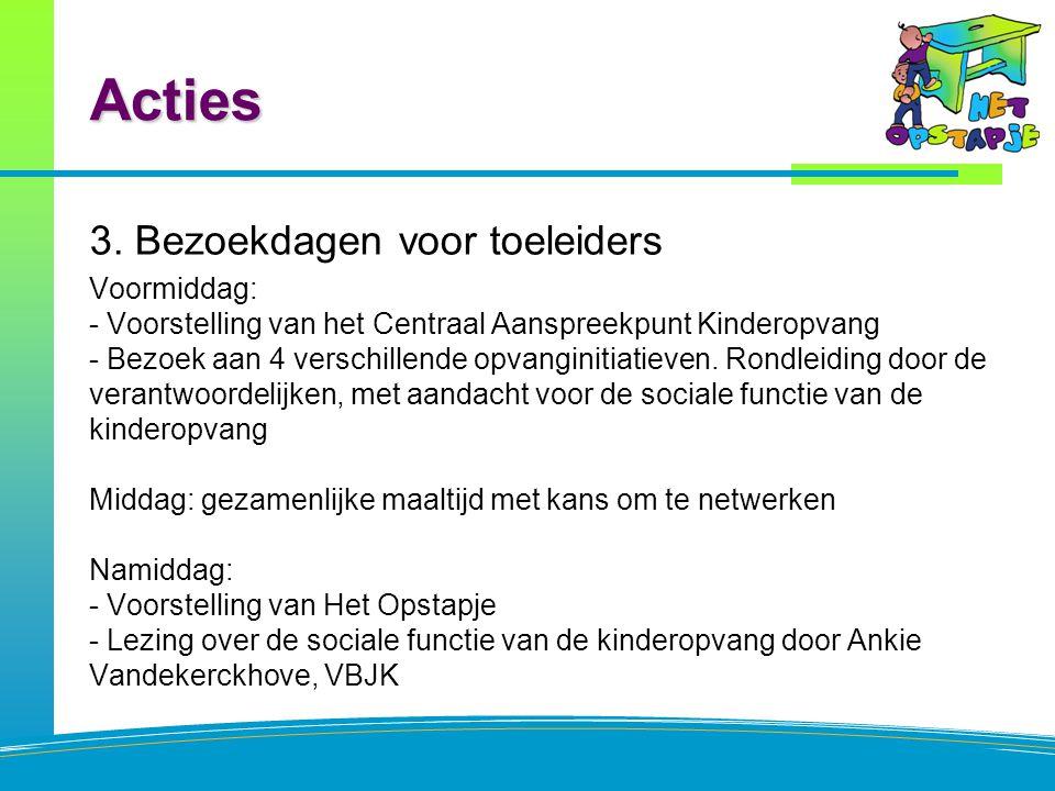 Acties 3. Bezoekdagen voor toeleiders Voormiddag: - Voorstelling van het Centraal Aanspreekpunt Kinderopvang - Bezoek aan 4 verschillende opvanginitia