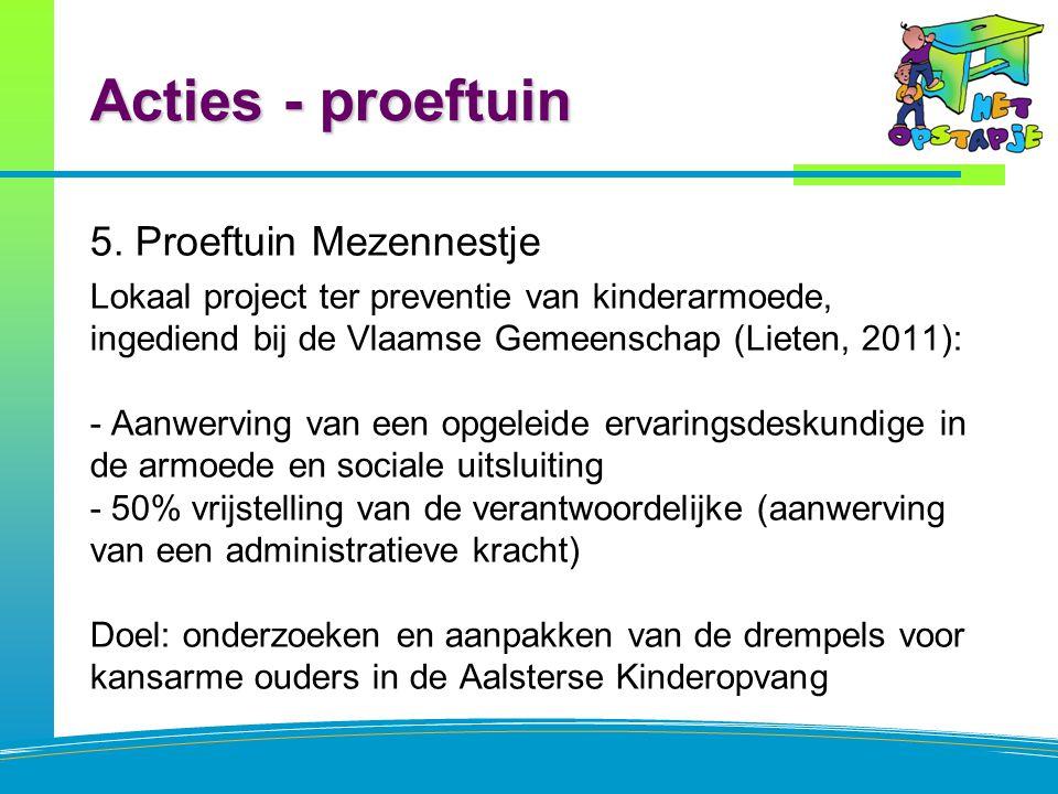 Acties - proeftuin 5. Proeftuin Mezennestje Lokaal project ter preventie van kinderarmoede, ingediend bij de Vlaamse Gemeenschap (Lieten, 2011): - Aan