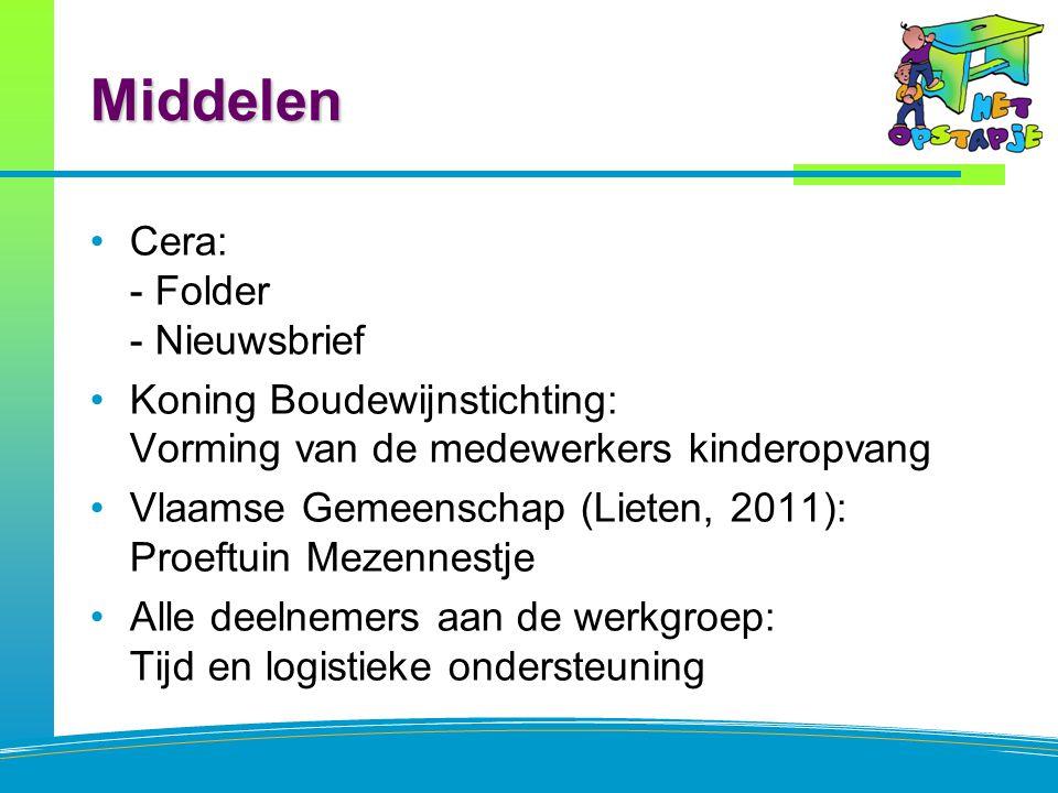 Middelen Cera: - Folder - Nieuwsbrief Koning Boudewijnstichting: Vorming van de medewerkers kinderopvang Vlaamse Gemeenschap (Lieten, 2011): Proeftuin